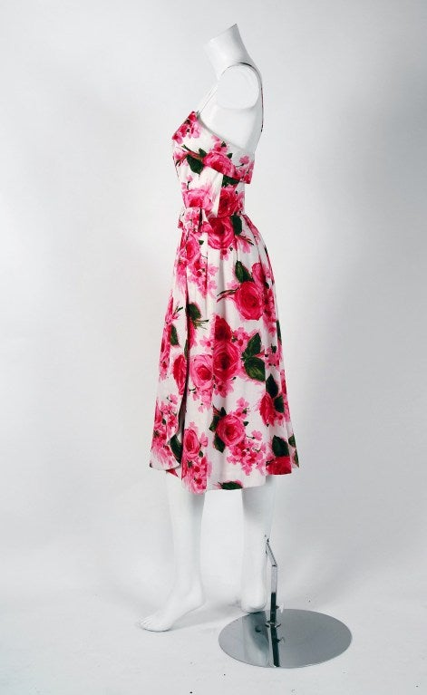 1950's Saks Fifth Avenue Pink Roses Floral Print Nipped-Waist Bow Cotton Dress 4