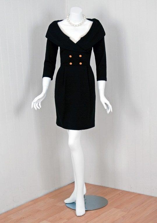 1990's Chanel Low-Cut Plunge Portrait-Collar Black Wiggle Dress 2
