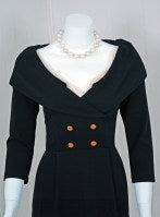1990's Chanel Low-Cut Plunge Portrait-Collar Black Wiggle Dress thumbnail 3