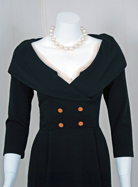 1990's Chanel Low-Cut Plunge Portrait-Collar Black Wiggle Dress image 3