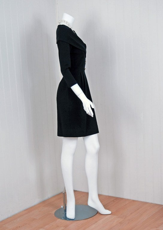1990's Chanel Low-Cut Plunge Portrait-Collar Black Wiggle Dress image 4
