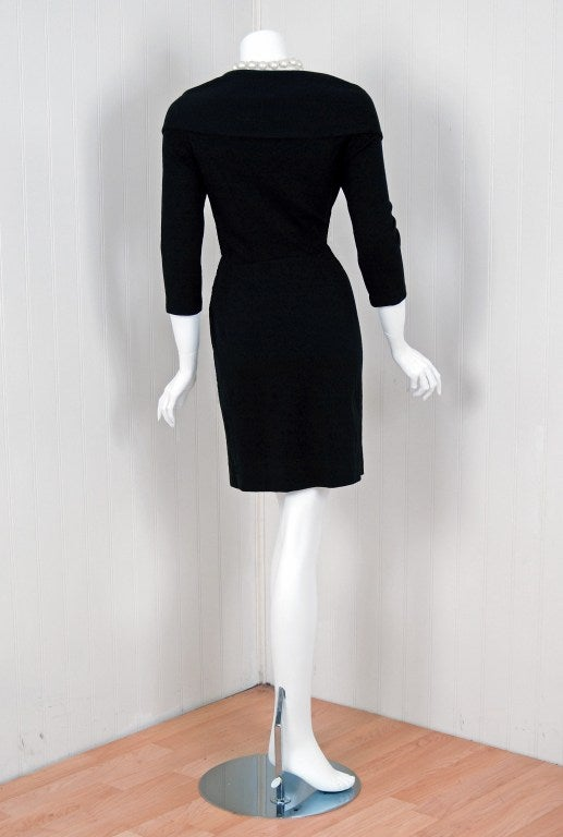 1990's Chanel Low-Cut Plunge Portrait-Collar Black Wiggle Dress image 5