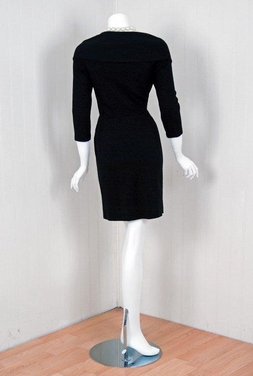 1990's Chanel Low-Cut Plunge Portrait-Collar Black Wiggle Dress 5