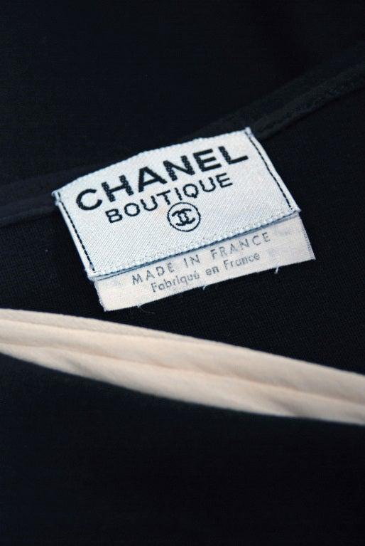 1990's Chanel Low-Cut Plunge Portrait-Collar Black Wiggle Dress 6