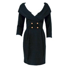 1990's Chanel Low-Cut Plunge Portrait-Collar Black Wiggle Dress thumbnail 1