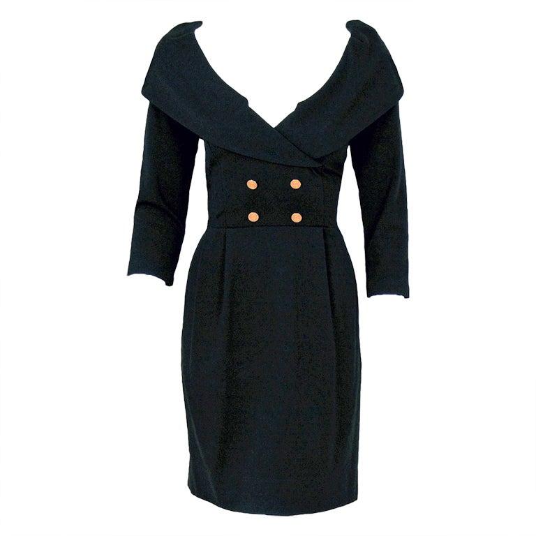 1990's Chanel Low-Cut Plunge Portrait-Collar Black Wiggle Dress 1