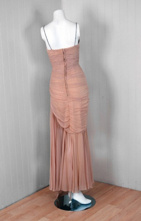 1950 S Italian Couture Heavily Pleated Nude Silk Chiffon