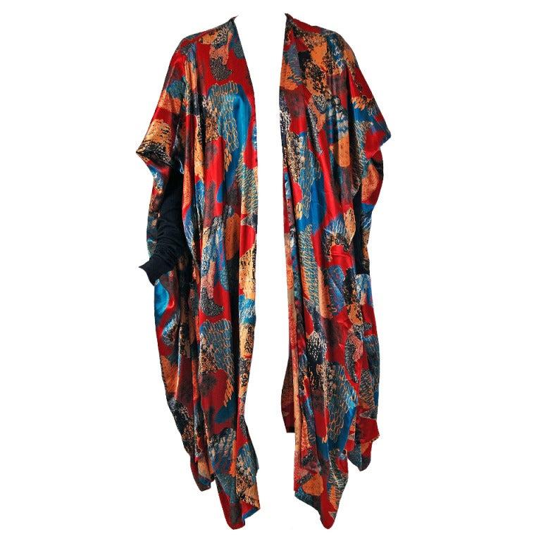 1990's Jean Paul Gaultier Iconic Print Silk & Knit Avant-Garde Caftan Jacket 1