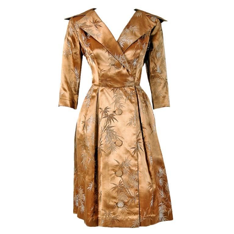 1950's Alfred Shaheen Hawaiian Golden Satin Portrait-Collar Cocktail Dress For Sale
