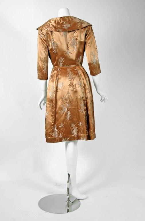 Women's 1950's Alfred Shaheen Hawaiian Golden Satin Portrait-Collar Cocktail Dress For Sale