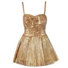 1950's Alix of Miami Metallic-Gold Pleated Lame Bombshell Swimsuit & Jacket