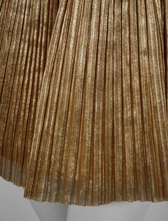 1950's Alix of Miami Metallic-Gold Pleated Lame Bombshell Swimsuit & Jacket In Excellent Condition In Beverly Hills, CA