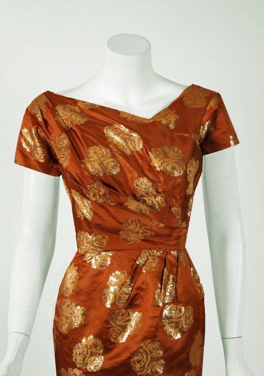 1950 S Ceil Chapman Metallic Golden Roses Bronze Lame