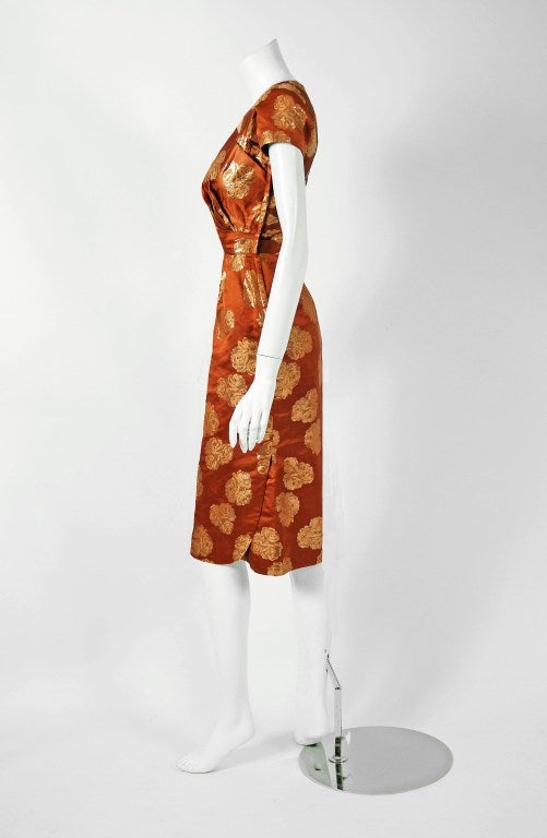 1950's Ceil Chapman Metallic Golden-Roses Bronze Lame Ruched Cocktail Dress 3