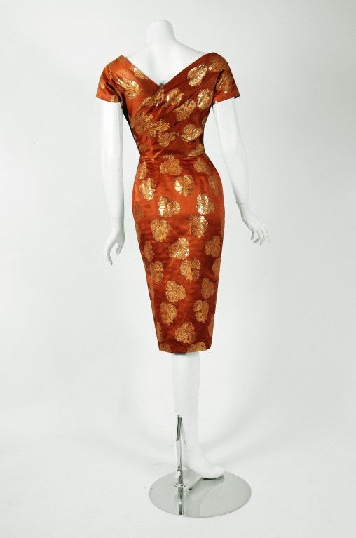 1950's Ceil Chapman Metallic Golden-Roses Bronze Lame Ruched Cocktail Dress 4