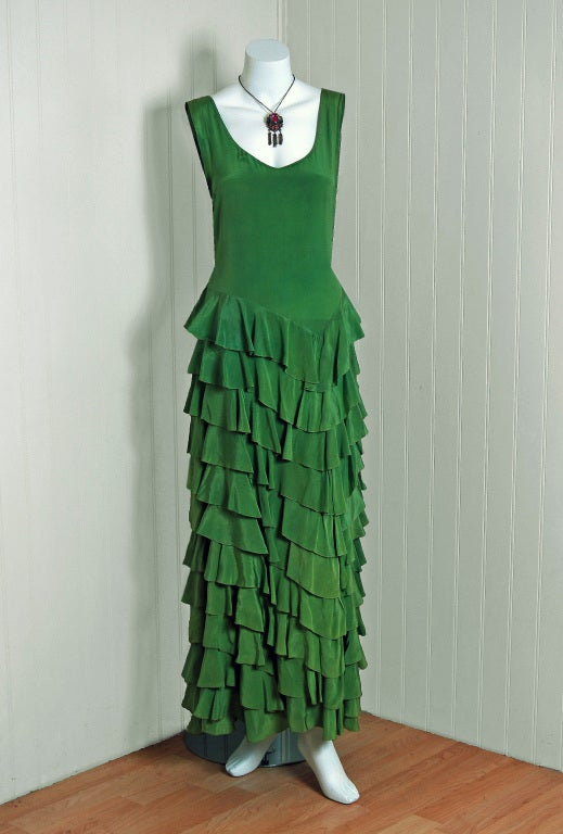 1930's Olive-Green Silk Low-Cut Plunge Sleeveless Tiered-Ruffle Gown 2