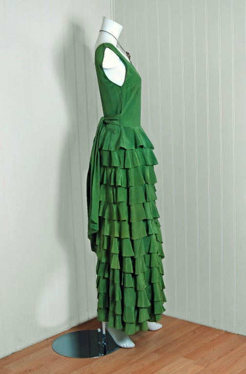 1930's Olive-Green Silk Low-Cut Plunge Sleeveless Tiered-Ruffle Gown 3