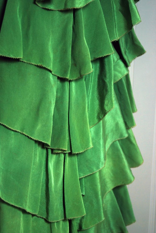 1930's Olive-Green Silk Low-Cut Plunge Sleeveless Tiered-Ruffle Gown 4