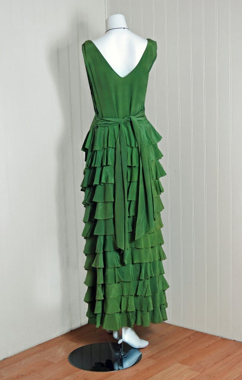 1930's Olive-Green Silk Low-Cut Plunge Sleeveless Tiered-Ruffle Gown 5
