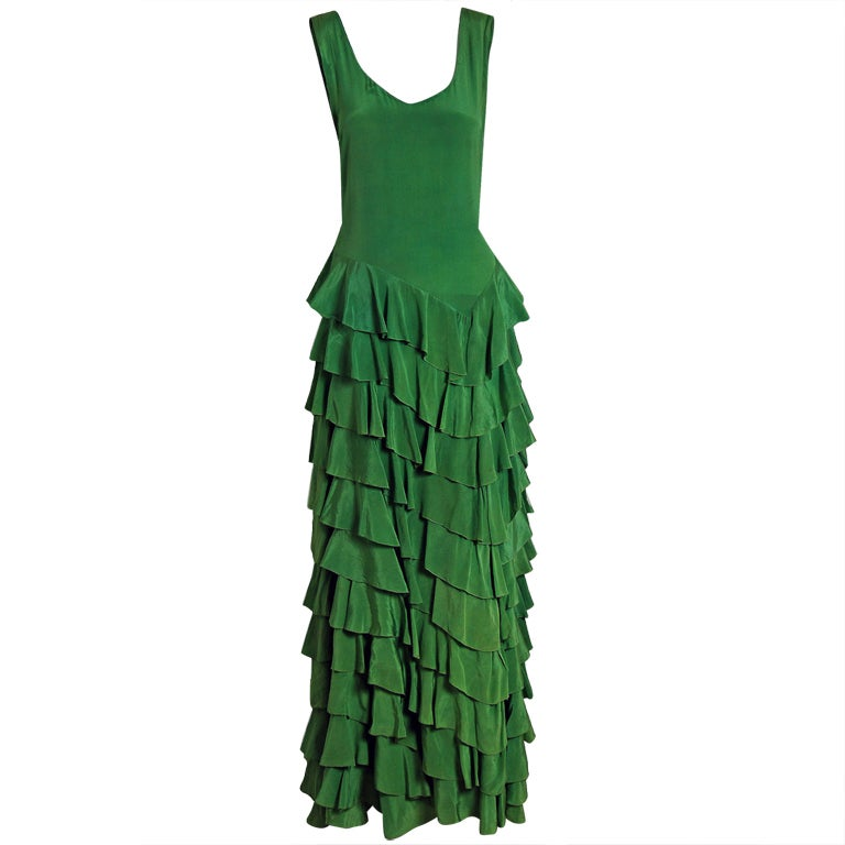 1930's Olive-Green Silk Low-Cut Plunge Sleeveless Tiered-Ruffle Gown 1