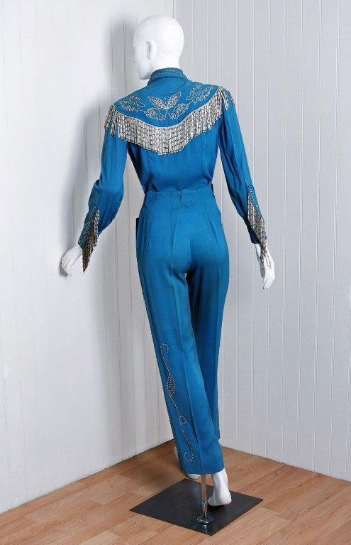 1958 Ranch Maid Western Rhinestone Gabardine Rodeo Suit At