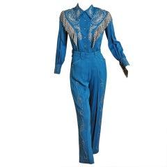 1958 Ranch-Maid Western Rhinestone Gabardine Rodeo Suit
