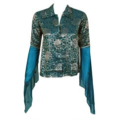 1970's Thea Porter Metallic Threaded Blue Backless Blouse