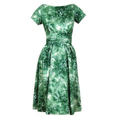 1950's Ceil Chapman Sage-Green Watercolor Floral Cocktail Dress