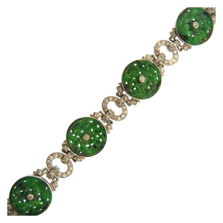 Art Deco Platinum Diamond And Carved Jade Bracelet At 1stdibs