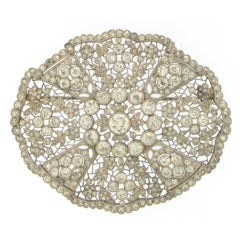 Belle Epoque French Platinum and Diamond Fabric Brooch