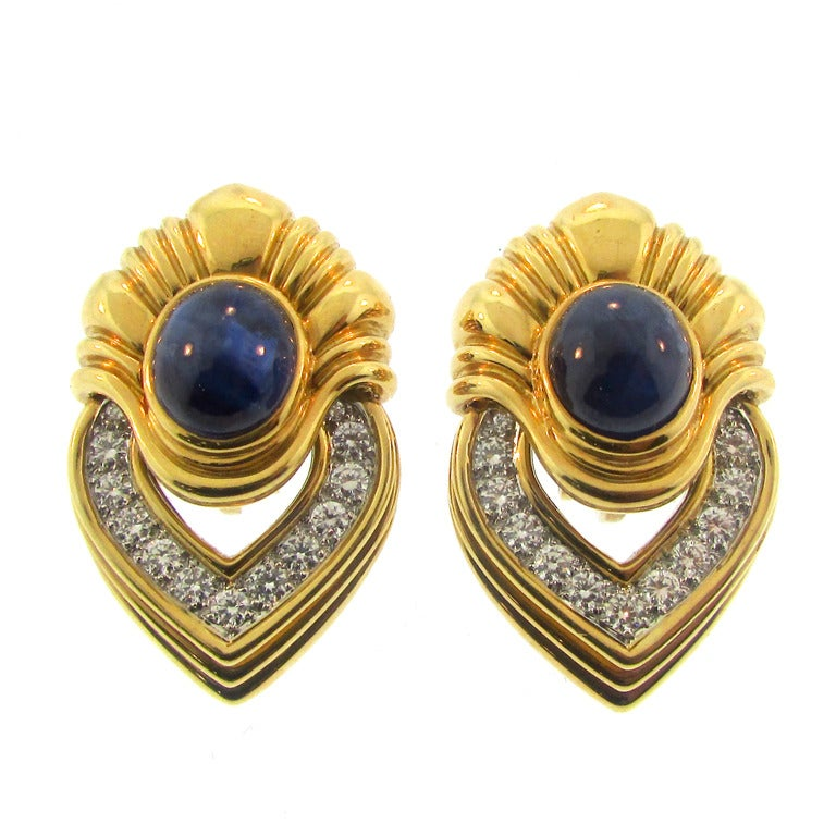 1960 S Diamond And Sapphire Ear Clips At 1stdibs