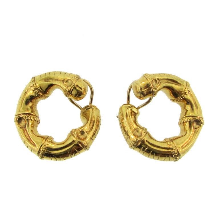 asprey gold hoop ear at 1stdibs
