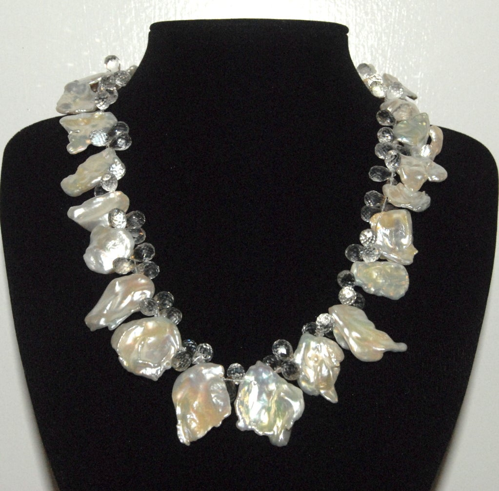 Keshi Pearl Necklace: Keshi Pearl And Topaz Necklace At 1stdibs