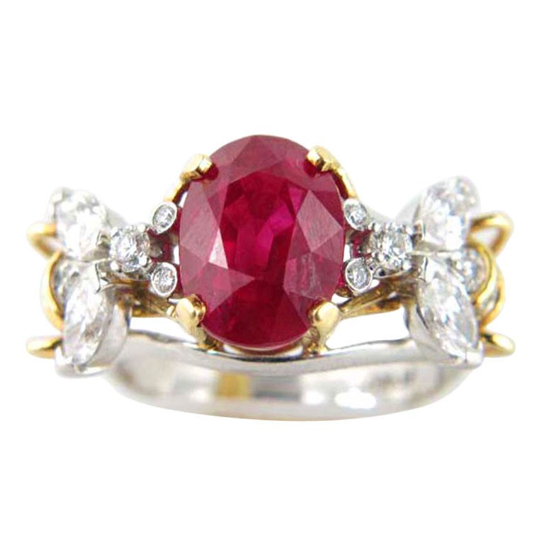 Custom Burma Ruby Ring: TIFFANY And CO. Burma Ruby Diamond Ring At 1stdibs