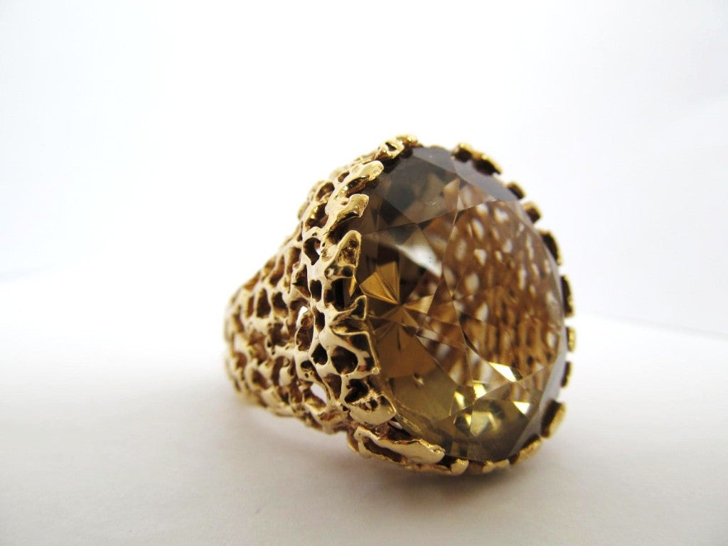 large bold chunky gold 1960 s smoky topaz ring at 1stdibs