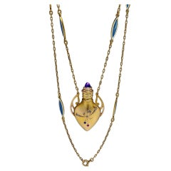 Antique Russian Gold Perfume Flask Necklace