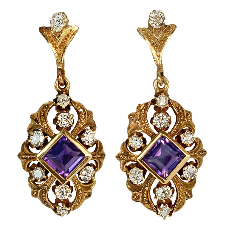 Antique Russian Amethyst Diamond Gold Earrings At 1stdibs