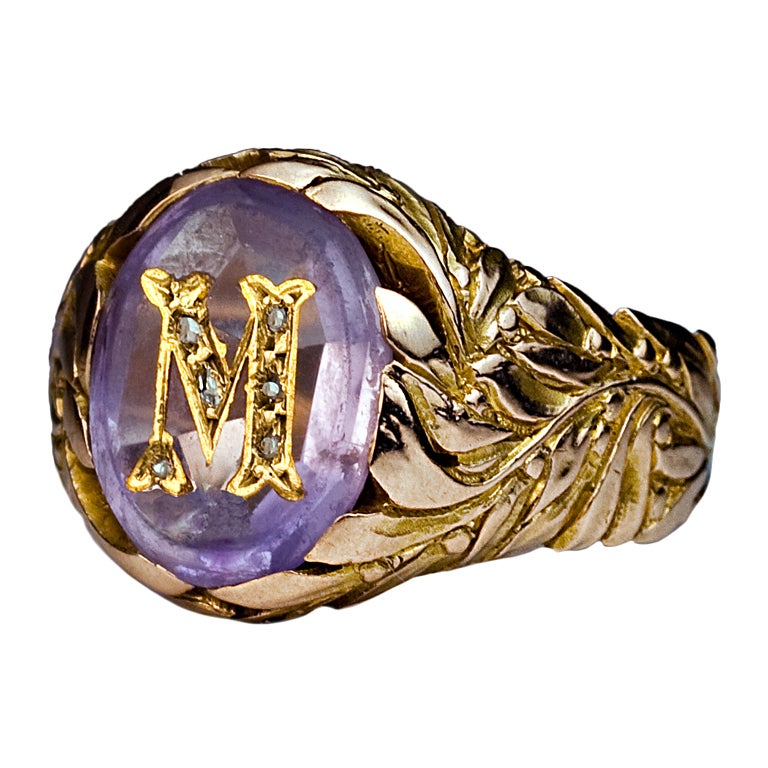 antique russian monogrammed amethyst gold mens ring c  1908 at 1stdibs