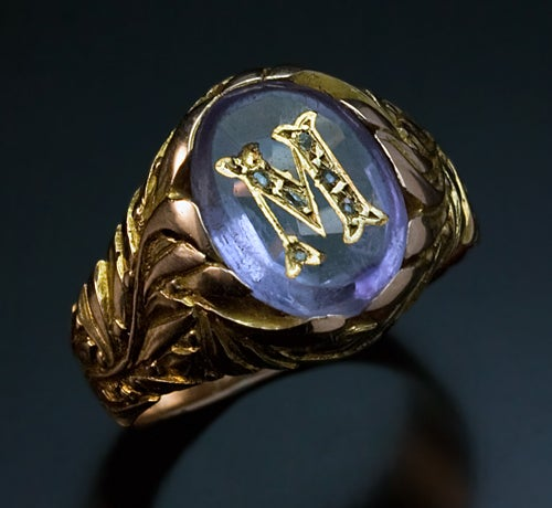 Antique Russian Monogrammed Amethyst Gold Mens Ring c ...