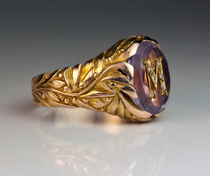 antique russian monogrammed amethyst gold mens ring c