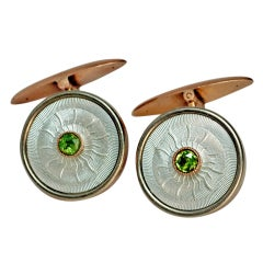 Antique Russian Guilloche Enamel Cufflinks