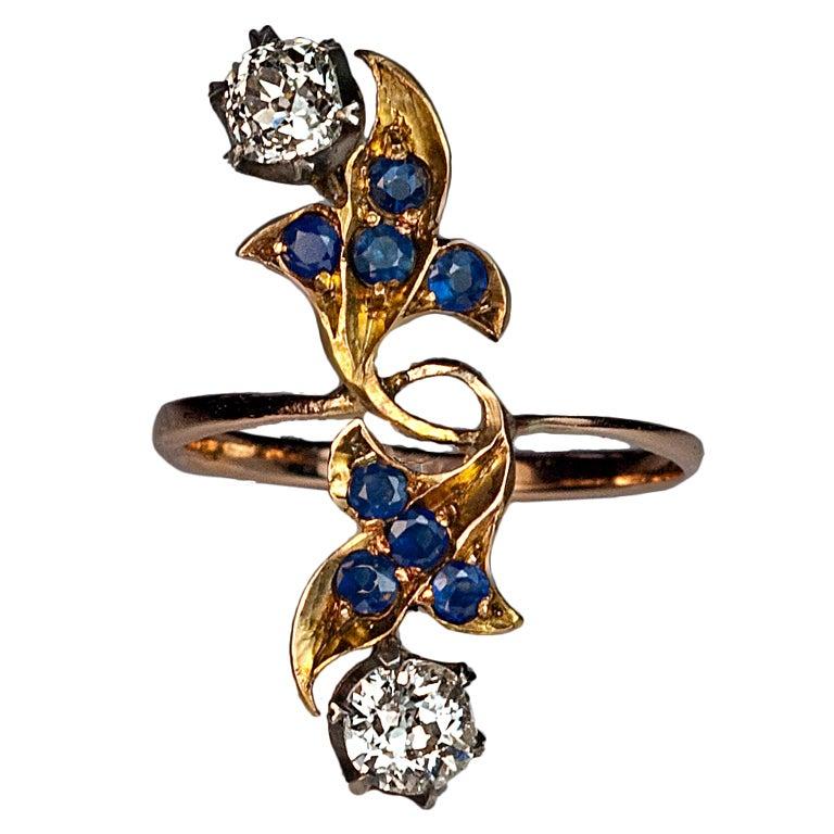 Art Nouveau Russian Diamond Sapphire Long Ring at 1stdibs