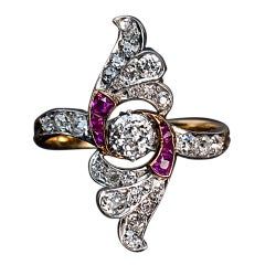 Art Deco Russian Ruby Diamond Gold Platinum Wing Ring