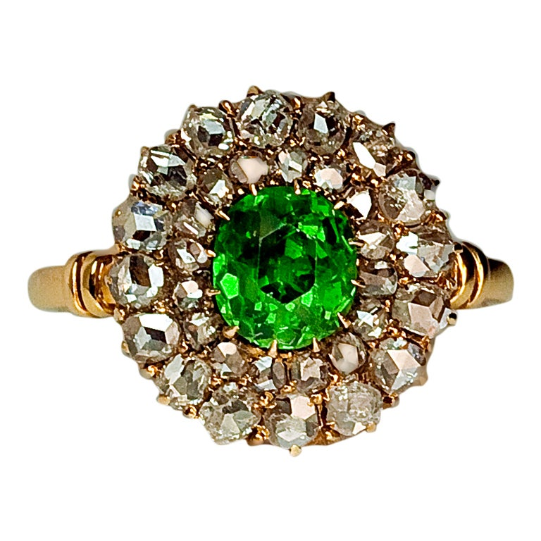 Antique Russian Demantoid And Rose Diamond Target Ring At