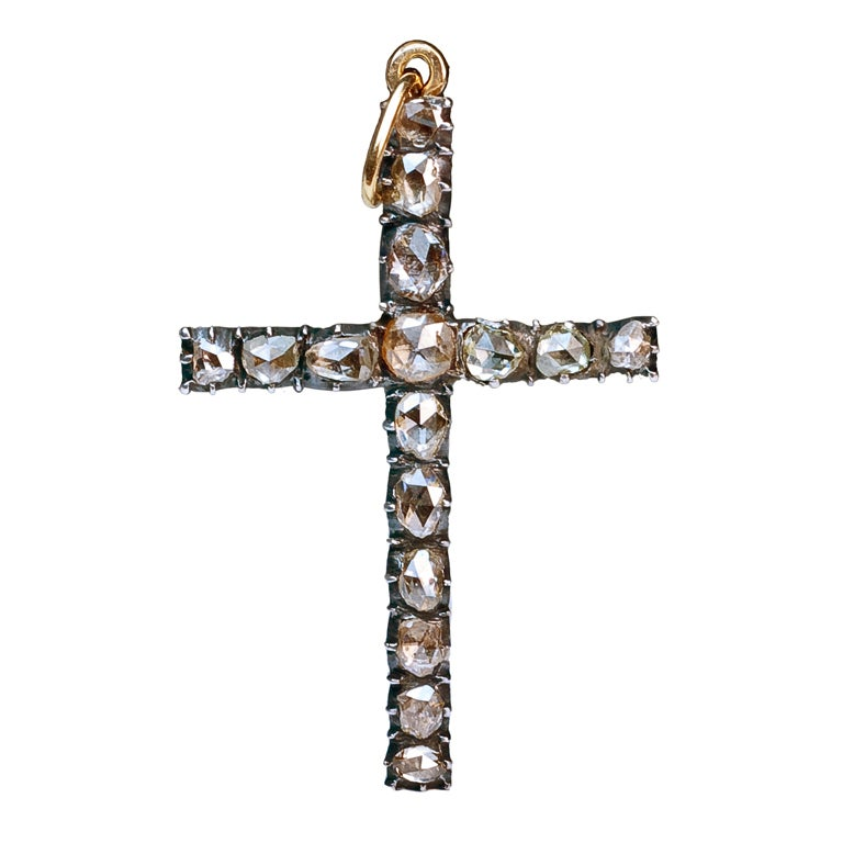 Antique Georgian Rose Diamond Cross Pendant 1