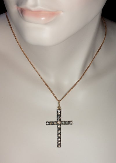 Antique Georgian Rose Diamond Cross Pendant 2