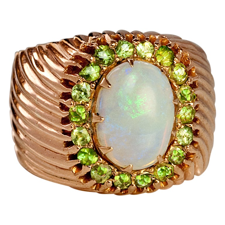 antique russian opal demantoid gold ring at 1stdibs