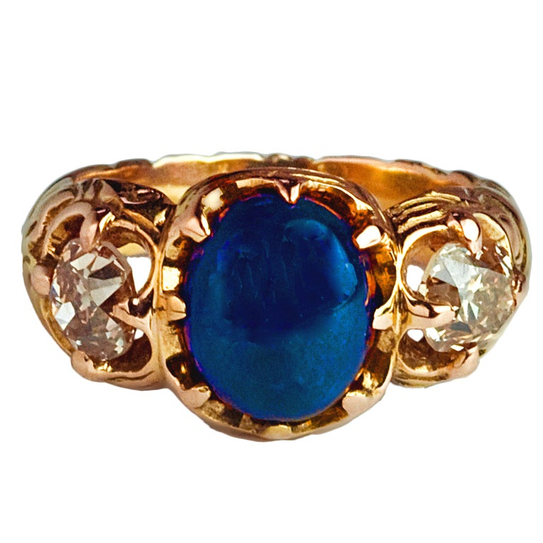 Sapphire and Diamond Antique Russian Men's Ring