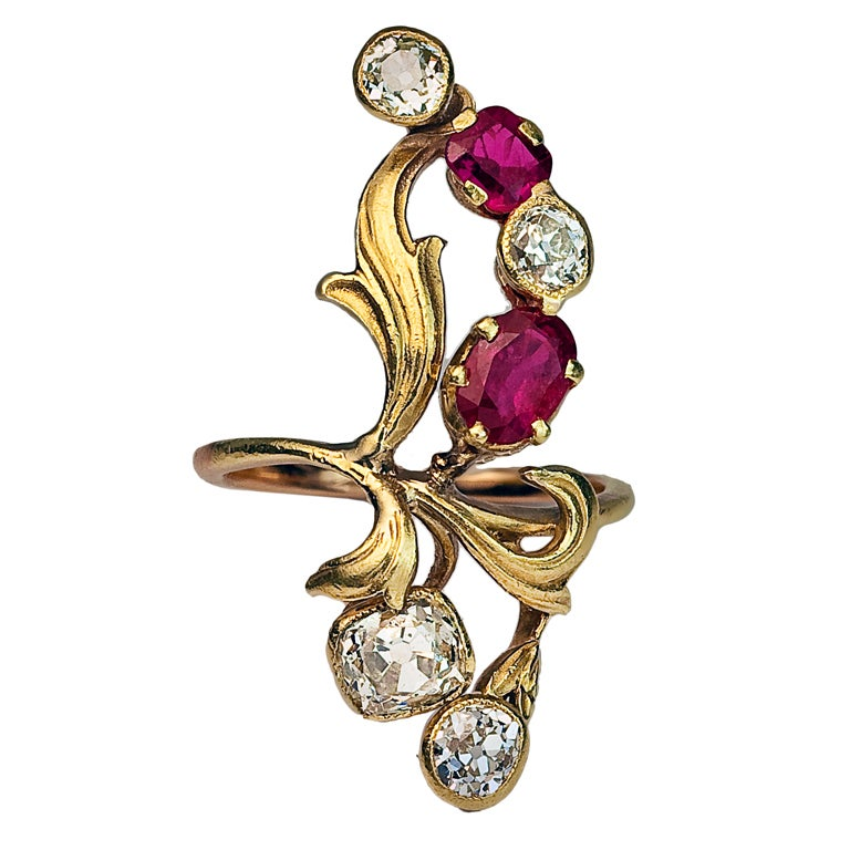 Art Nouveau Antique Russian Ruby Diamond Ring At 1stdibs