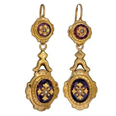 19th Century French Amethyst Gold Earrings